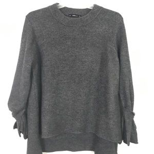 Zara Sweaters - ZARA Knit Grey Tie Sleeve Sweater Small